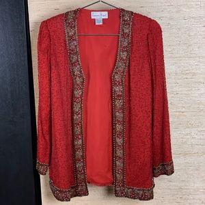 Laurence Kazar Vintage Silk Bejeweled Jacket